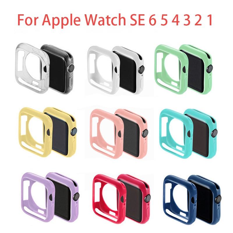 iWatch Cover Case for Apple Smart Watch se 6 5 4 3 2 1 40mm 44mm 42mm 38mm colorful soft TPU Silicone cases For iWatch Series 3 2 Bumper Protector