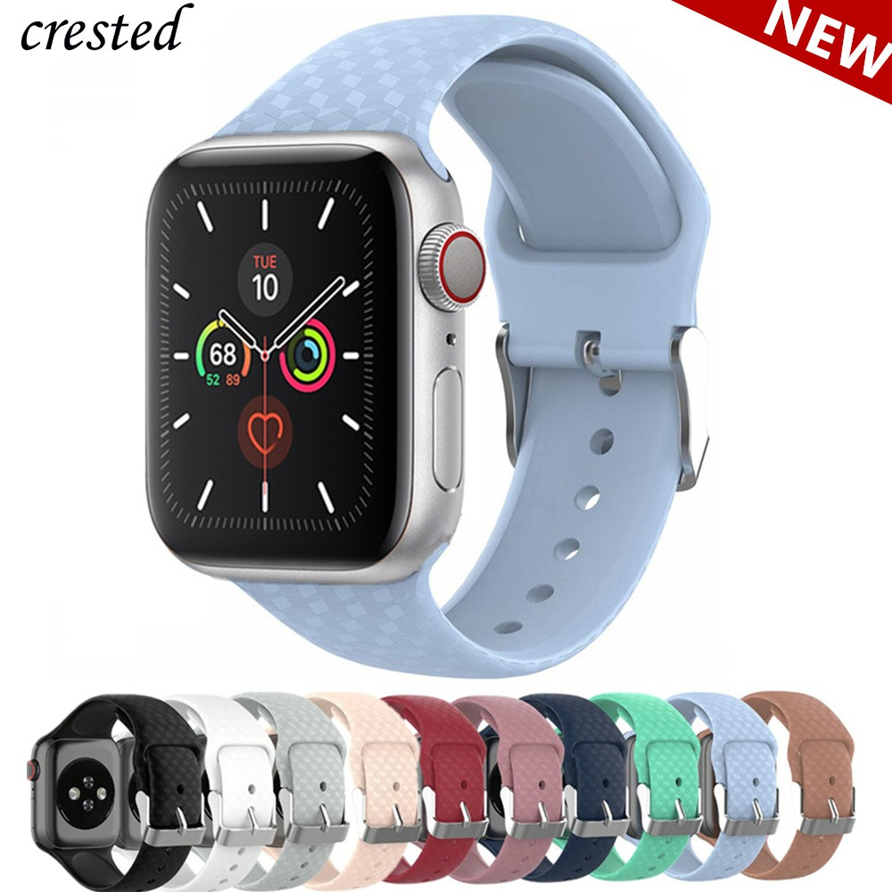 3D Texture Strap for Apple watch band 44mm 40mm Sport Silicone belt watchband bracelet iWatch 38mm 42mm series 3 4 5 se