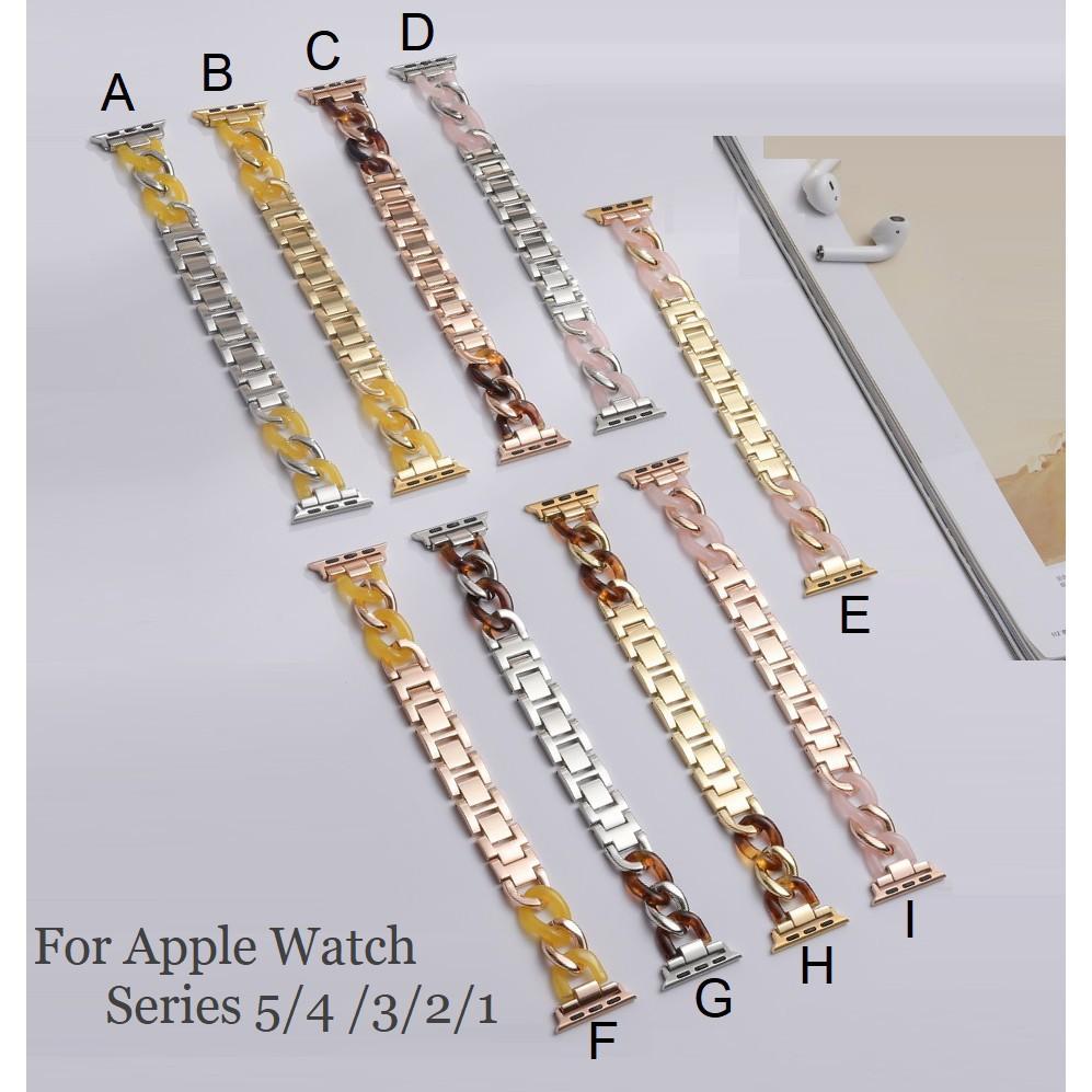 ❒✹Luxury Chain สายนาฬิกา Apple Watch Straps เหล็กกล้าไร้สนิม สาย Applewatch Series 6 5 4 3 2 1, SE Stainless Steel สายน