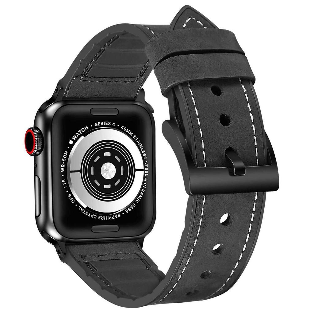 ❋ใช้ได้กับ Apple Watch Leather Applewatch6 / 5 สายหนัง Crazy Horse Brown ลาย iwatch3 / 4SE หนังซิลิโคน♖