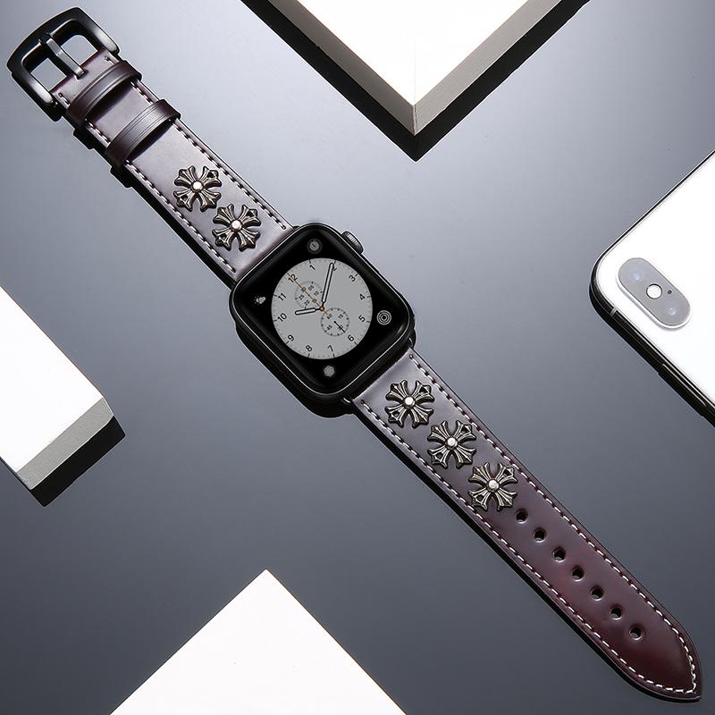 ◑⊱บังคับ iWatch สายหนัง applewatch5สายแอปเปิ้ลดูด้วยผู้ชายและผู้หญิงคลื่นลูกใหม่ iwatch4/2/1รุ่นพังก์ลม42mm38series สายร