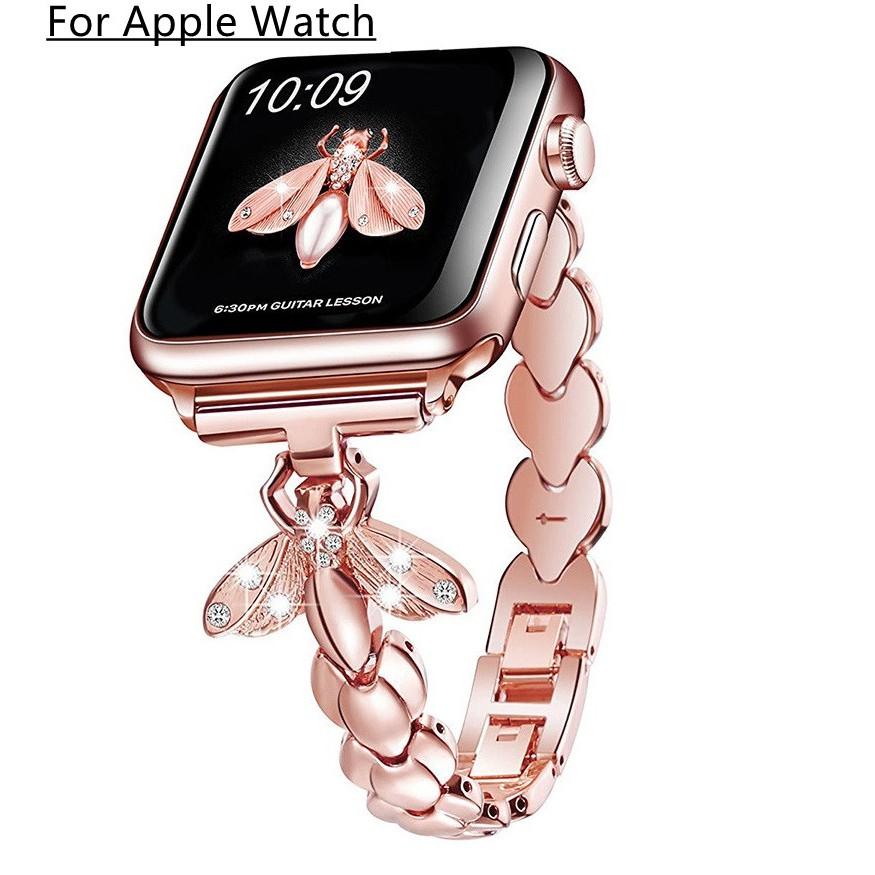 สายนาฬิกา Apple Watch สุดหรูประดับเพชร Bling Applewatch Series 6 5 4 3 2 1, Apple Watch SE สายสแตนเลสสตีล