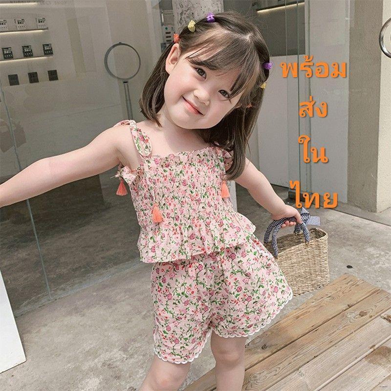 ยางยืดออกกําลังกาย◙☎[Y D] 008 ชุดเสื้อแขนกุด+กางเกงขาสั้นลายดอกไม้สำหรับเด็กผู้หญิง