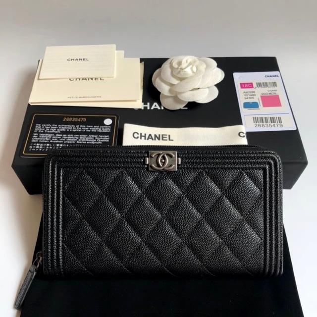 Chanel Boy Zip Wallet Original 1:1 👑อะไหล่รมควัน