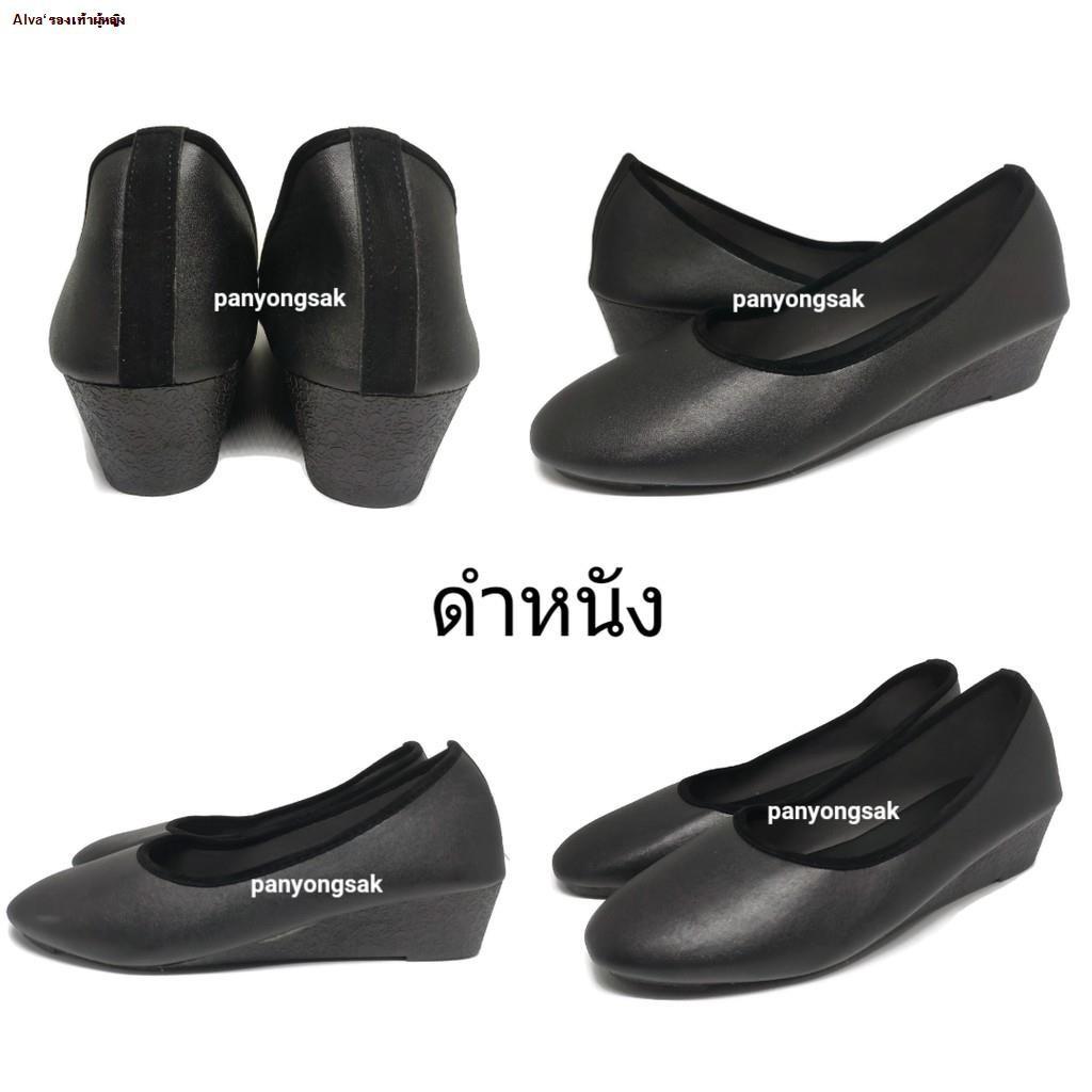 Alva'รองเท้าผู้หญิง--✉❈รองเท้าคัชชู ส้นสูง 1.5 นิ้ว รุ่น AJ711 size 36-41 ดำหนัง ดำกำมะหยี่