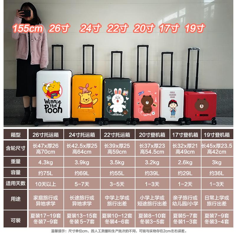 ○◓ กระเป๋าเดินทางกลางแจ้ง กล่องเก็บเสื้อผ้า Winnie The Poohกระเป๋าเดินทางสำหรับผู้ชายและผู้หญิง24/26นิ้วเด็กรถเข็นกระเป๋