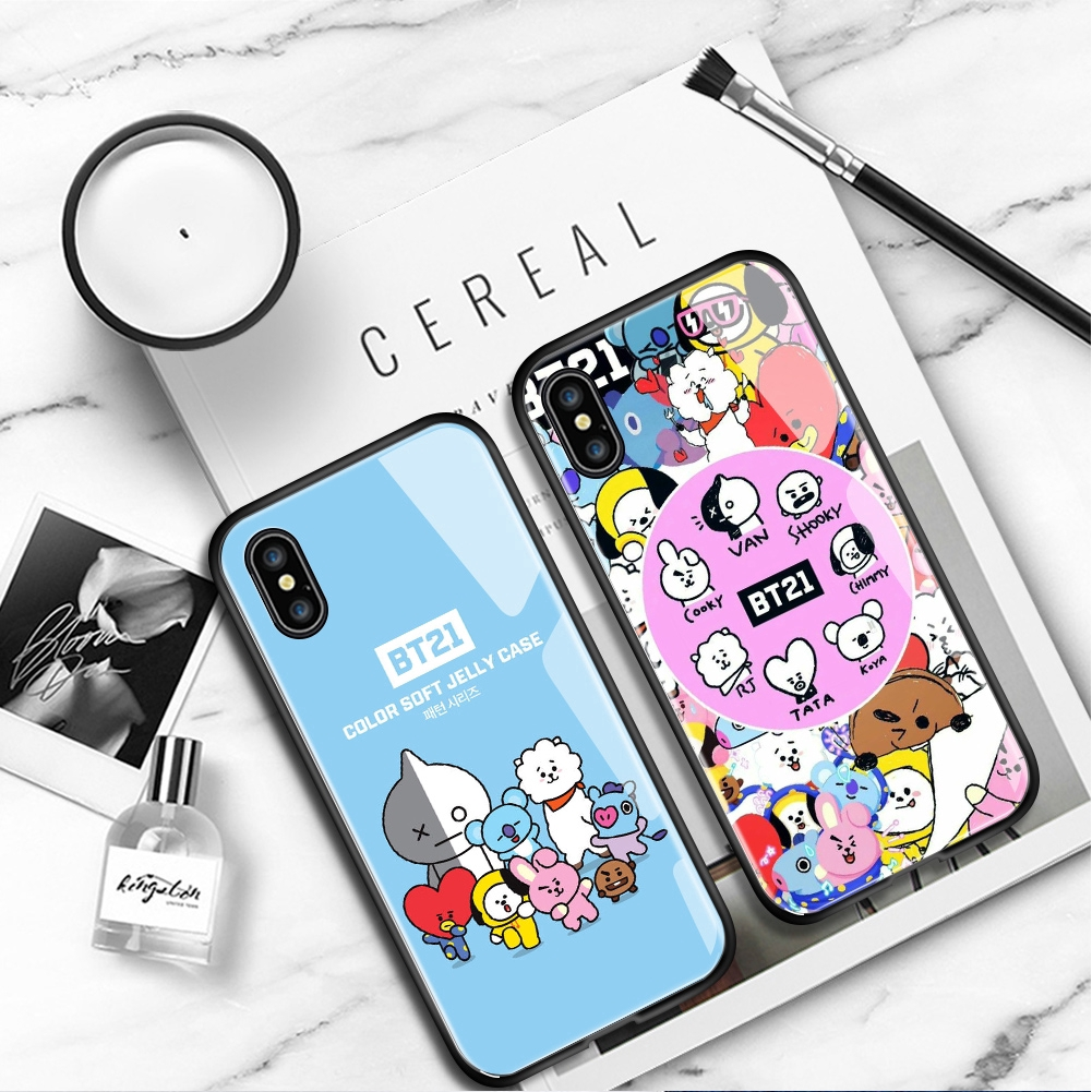 BT21 Boys Phone Case For Samsung Galaxy A8 A9 A7 A6 2018 Plus Pro 2019 A9S Star A8S A730 A750 A530 Ultra Bangtan Boys Tempered Glass Back Cover Casing เคสโทรศัพท์ สำหรับ เคสมือถือ เคสแข็ง