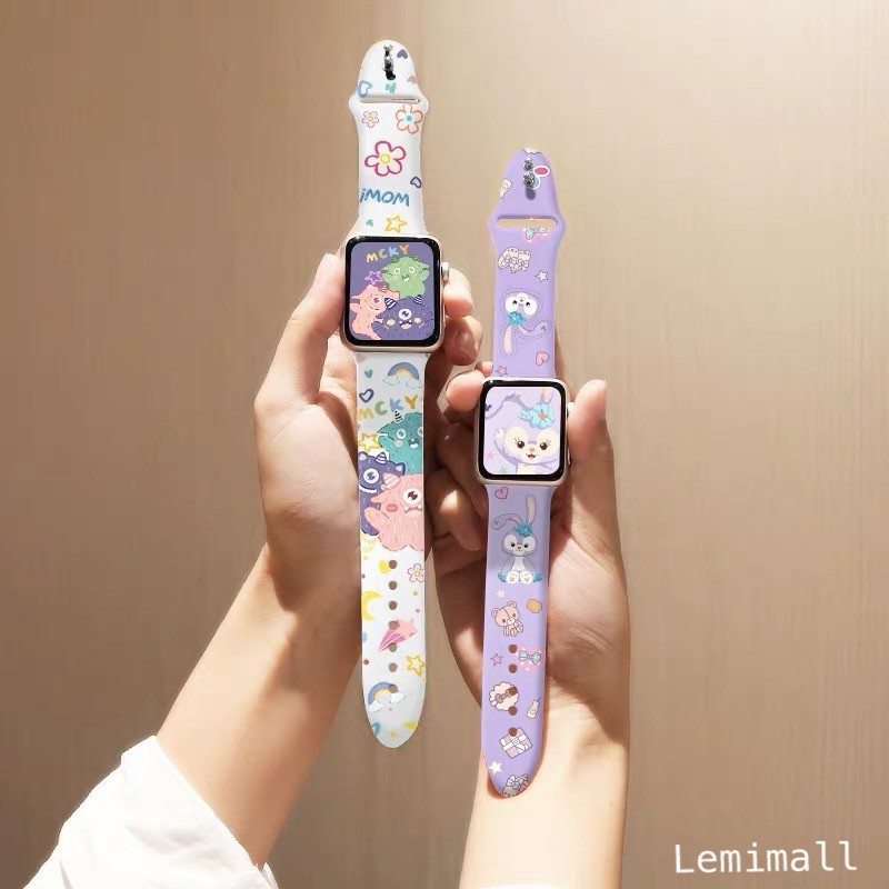 ✸✱สาย สำหรับ AppleWatch Sport สาย สำหรับ AppleWatch 6 SE 1/2/3/4/5 สายยาง ลาย strawberry bear