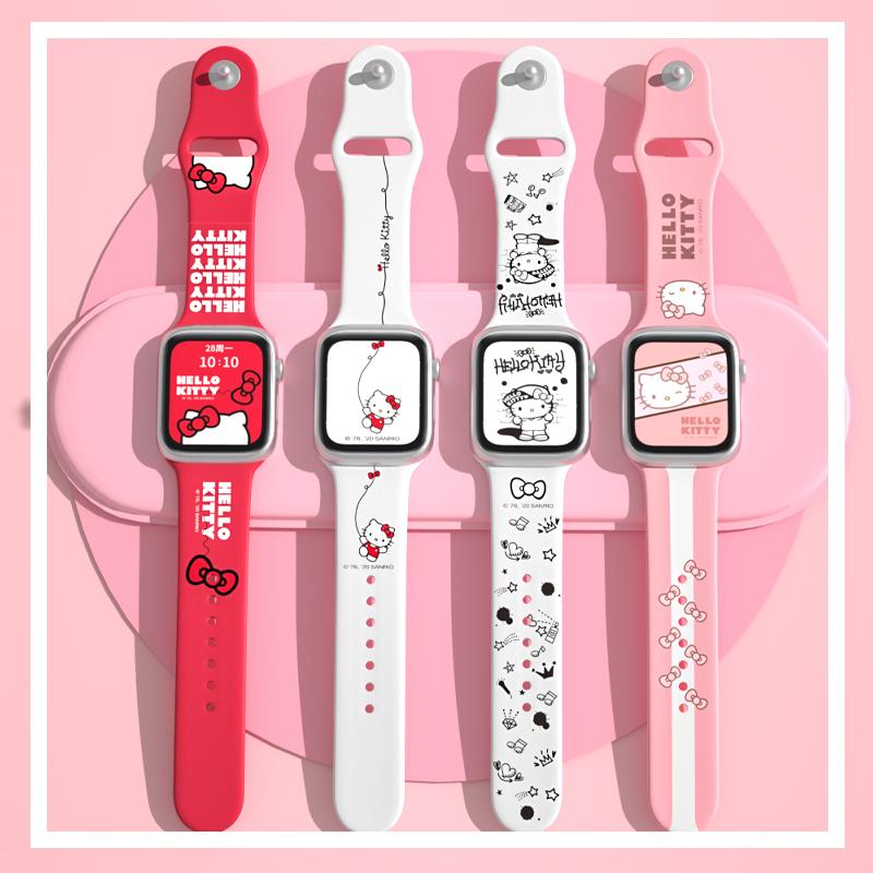 ( Apple Watch Strap ) สายนาฬิกาข้อมือซิลิโคนลายการ์ตูน Hello Kitty สําหรับ Apple Watch Se Series 6 / 5 / 4 / 3 / 2 / 1 3