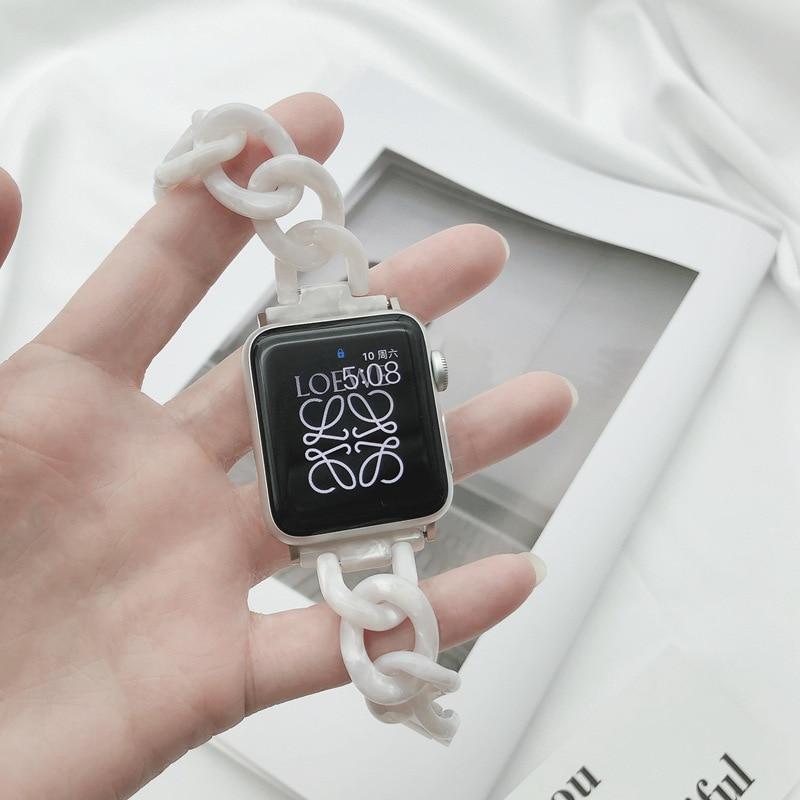 สายนาฬิกาข้อมือเรซิ่นสีใสสําหรับ Apple Watch Series 6 Band 40 มม. 44 มม. สําหรับ Apple Watch 5 4 3 Band 38 มม. 42 มม.