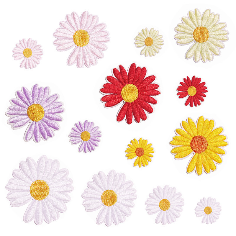 Factory direct embroidery processing embroidery fabric sticker cartoon cloth paste patch posted daisy hand books diy acc