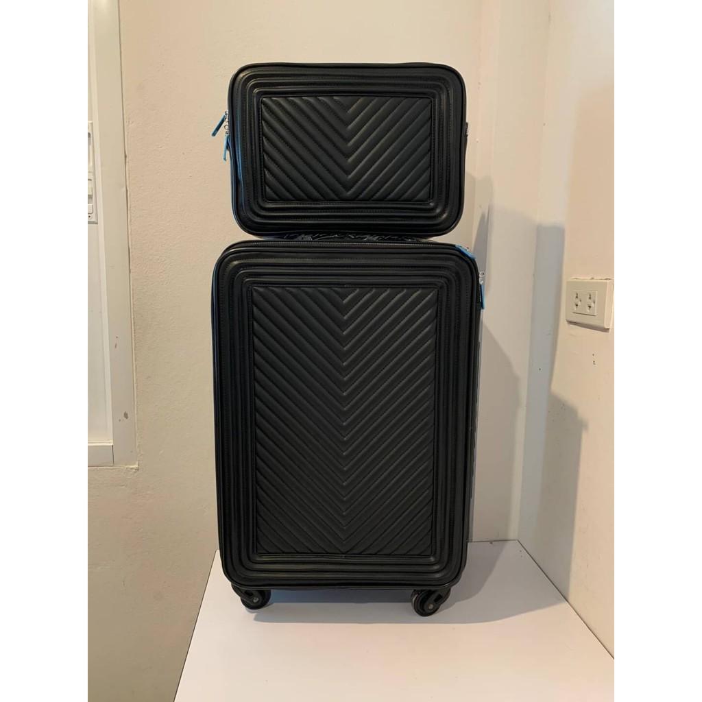 CHANEL VINTAGE COCO CASE ROLLING TROLLEY CHEVRON SUITCASE IN BLACK LEATHER กระเป๋าเดินทางแบบล้อลาก พร้อมแบบถือใบเล็ก
