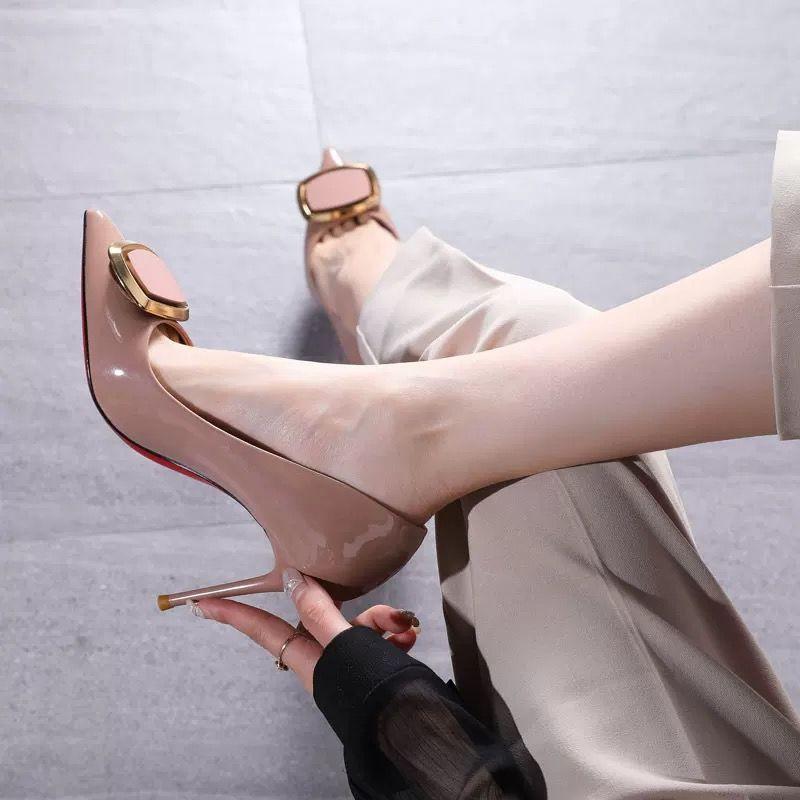 ✆►[สินค้าใหม่] รองเท้าส้นสูงส้นเข็มหัวเข็มขัดแฟชั่นสำหรับสาว ๆ รองเท้าคัชชูปลายแหลมแบบใหม่ฤดูใบไม้ผลิและฤดูใบไม้ร่วงใหม