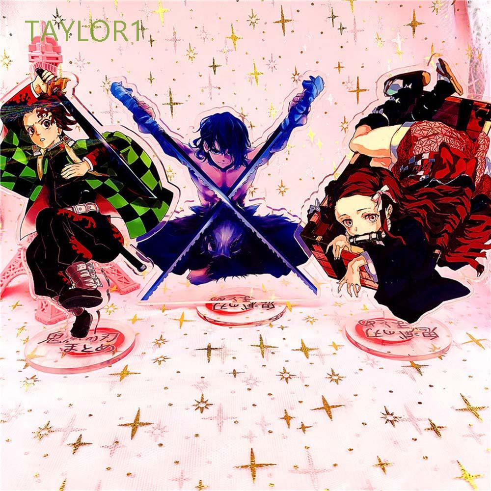 TAYLOR1 1Pcs Desktop Decoration Tomioka Yiyong Desktop Standing Card Demon Slayer Double Sided Tanjiro Kamado Cute Nidouzi Japanese Anime Inosuke Hashibira Figure Model Plate