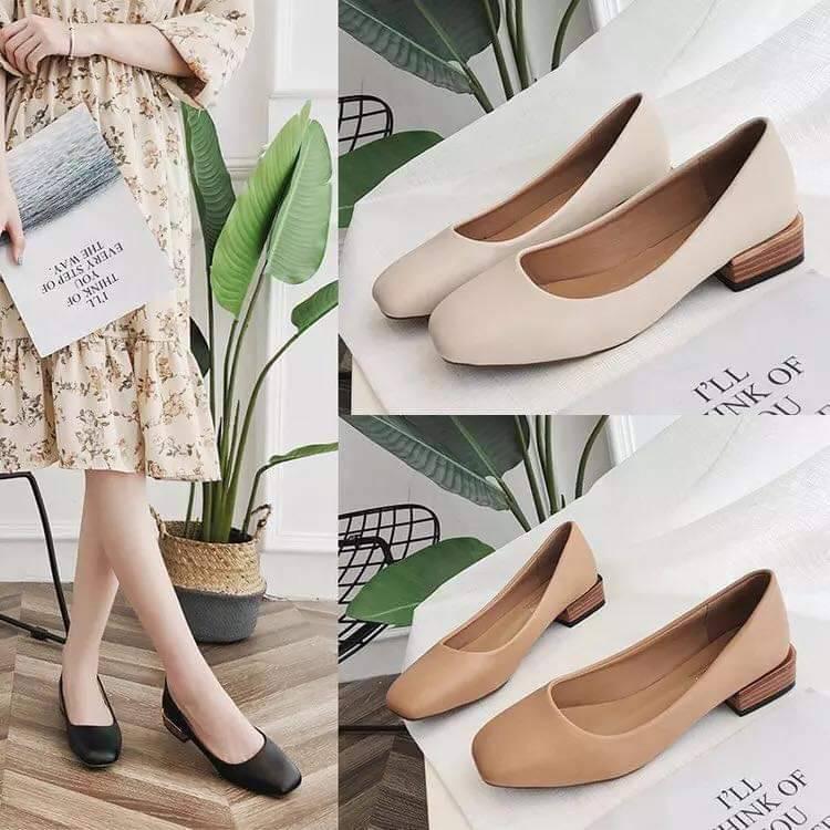 คัชชูหัวแหลม ส้นสูงหนา ผู้หญิง รองเท้าส้นสูงแฟชั่นขายดี รองเท้าคัชชูส้นสูง 2นิ้ว  F076