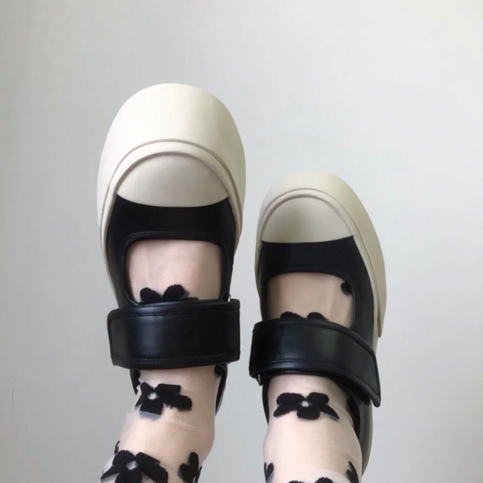 รองเท้า Marni Zoomable Velcro Mary Jane สีขาวพื้นหนาสําหรับผู้หญิง