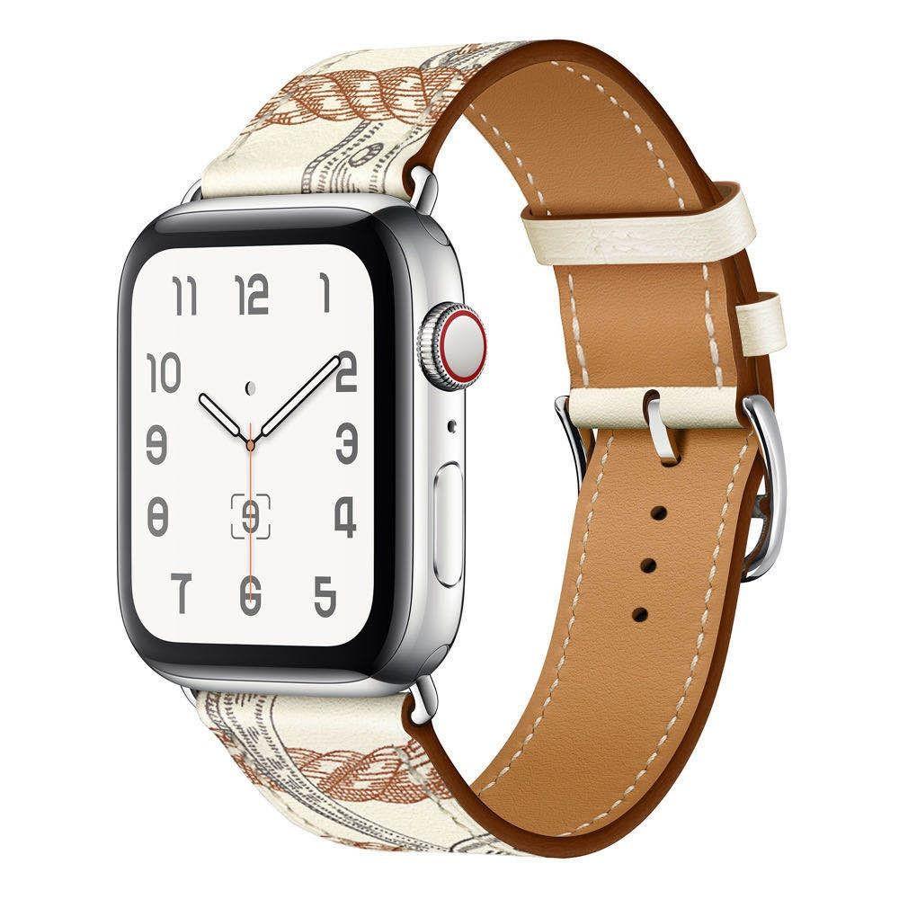 สายนาฬิกาข้อมือหนังสําหรับ Applewatch Se 1 / 2 / 3 / 4 / 5 / 6
