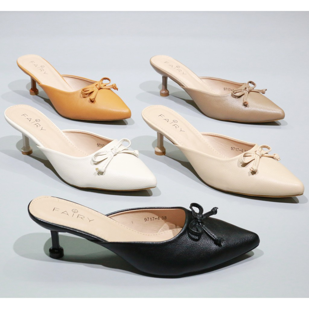 """ส้นสูง 9717-4 คัชชูเปิดส้นสูง 2.5""""  รองเท้าคัชชูหัวแหลม เปิดส้นหนังนิ่ม  รองเท้าส้นสูง แฟชั่น FAIRY"""