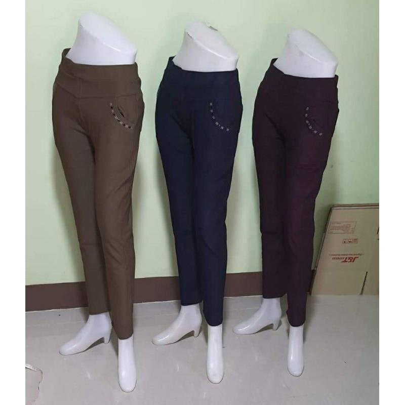 กางเกงคนแก่ ขายาว ผ้ายืดเกาหลี เอวยืดไม่ต้องรีด