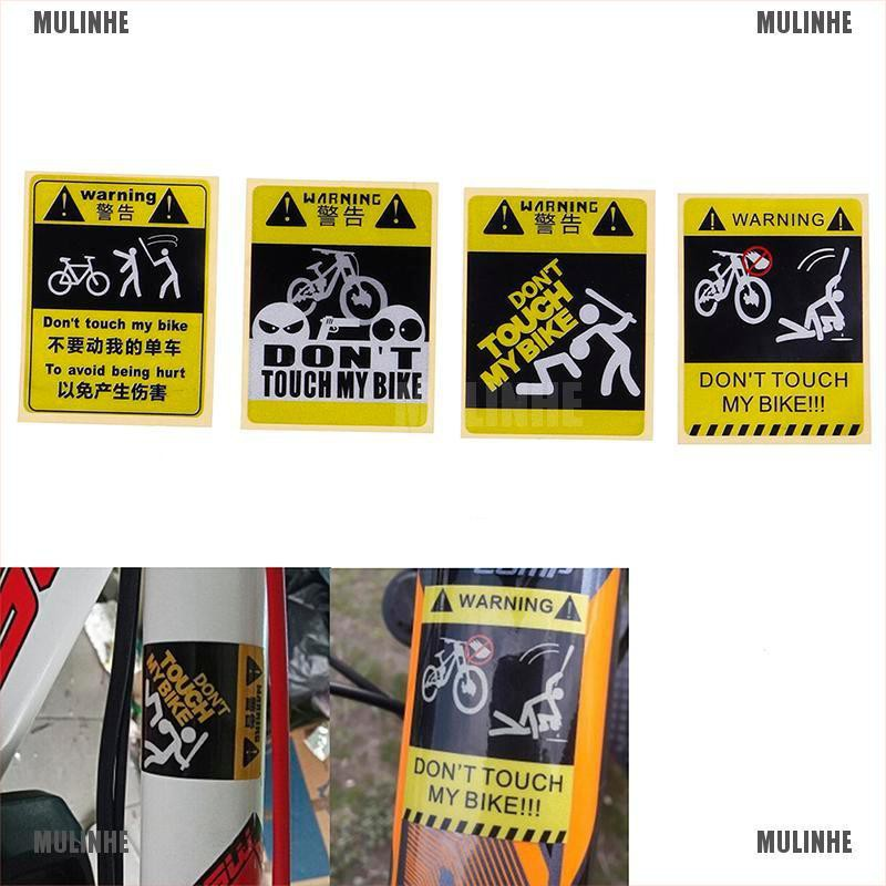 DONT TOUCH MY BIKE Bicycle Decorative Warning Sticker Waterproof Decal Yellow