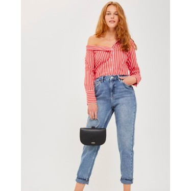 "Topshop กางเกงยีนส์ รุ่น mom เอวสูง เอว 30"" กางเกงยีนส์ mc"