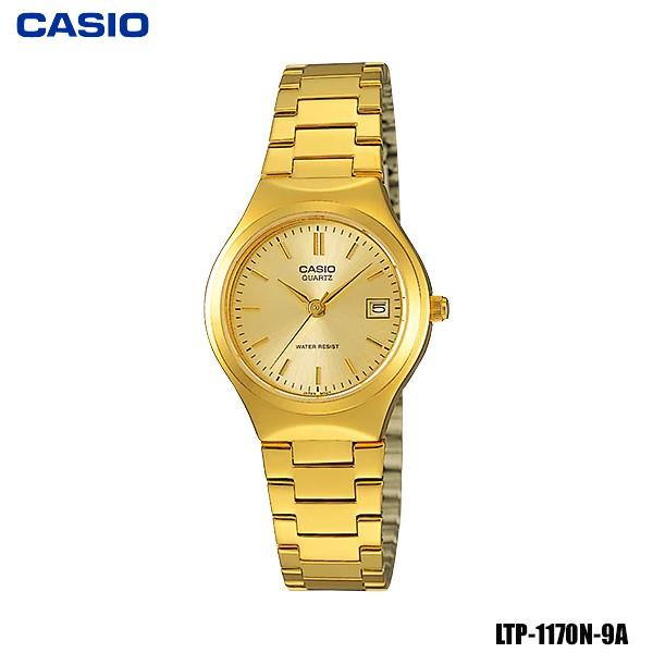 Casio นาฬิกาข้อมือผู้หญิง สายสแตนเลส สีทอง รุ่น LTP-1170N-9A ( Gold)