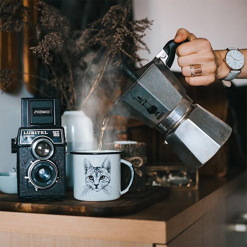 กาแฟ espresso♨✵Italy Bialetti MOKA EXPRESS เครื่องทำฟองนมหม้อกาแฟทำมือ