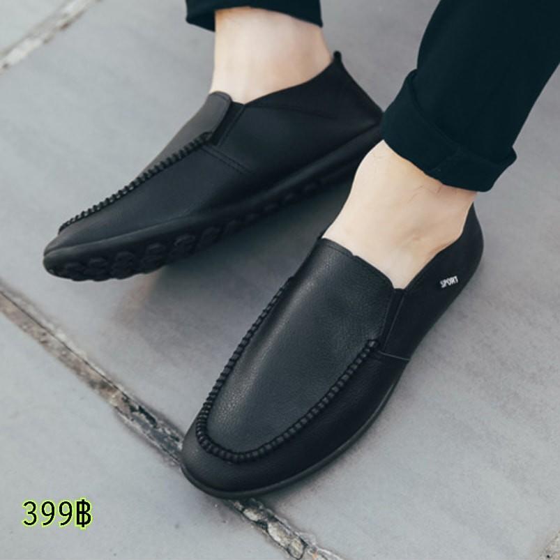 รองเท้าคัชชูผู้ชาย ทรงโลฟเฟอร์ หนังPU พื้นยางอย่างดี สีดำ