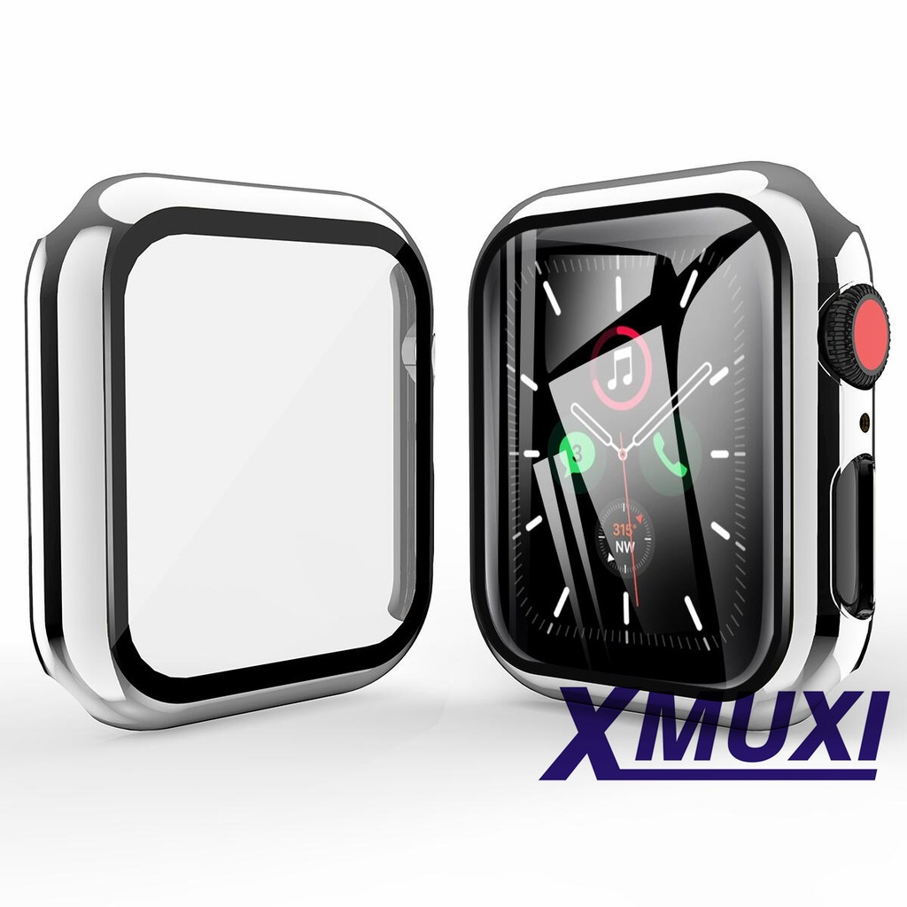 Watch Case Compatible With Apple Watch SE Series 6/5/4 40mm 44mm PC Protective Case with Tempered Glass Film Full Coverage Anti-Scratch Protective Case for Iwatch (Not Including Watch) 81038