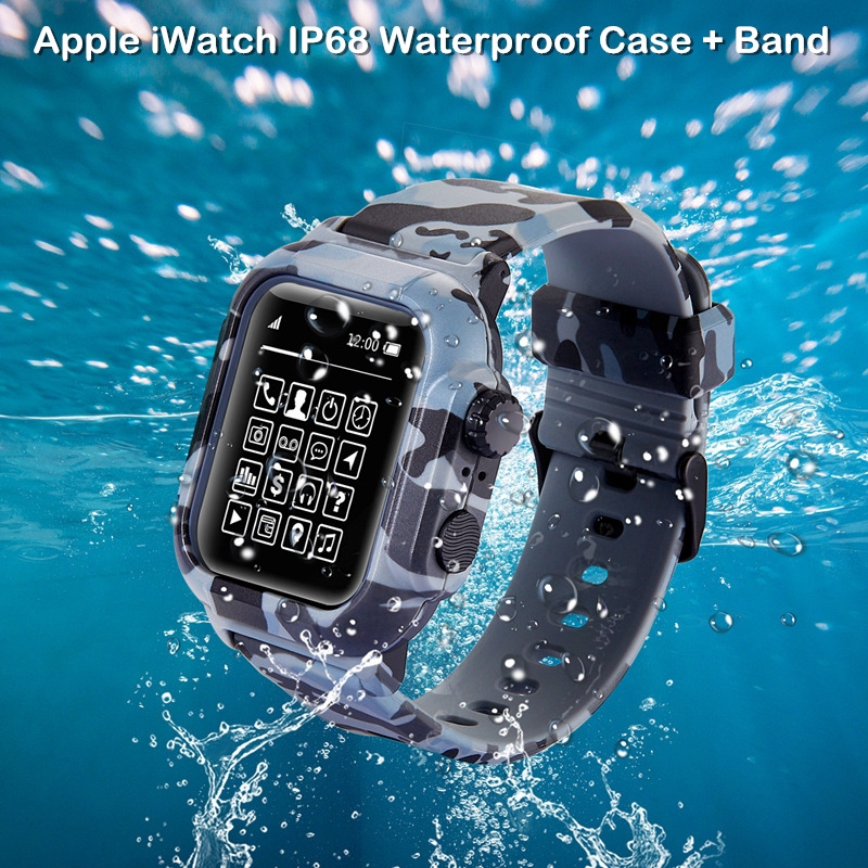(Cod) Camouflage Waterproof Watch Strap with Case for Apple Watch SE Series 6/5/4/3/2 Silicone Watch Band for iWatch 44mm 42mm 40mm 38mm