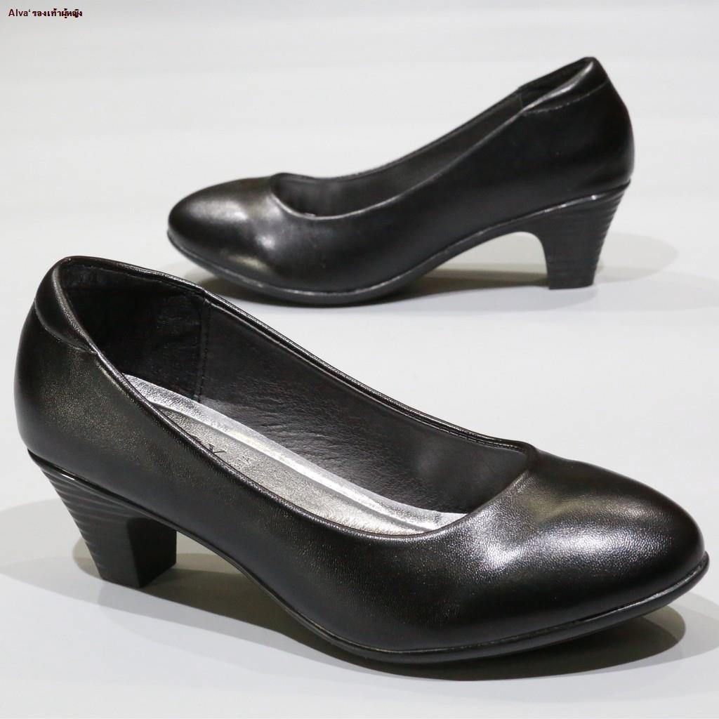 Alva'รองเท้าผู้หญิง--☂☑◘รองเท้า 833 รองเท้าส้นสูง รองเท้าคัชชูส้นสูง รองเท้าคัชชูสีดำ รองเท้านักศึกษา  ส้นลายไม้ 2 นิ้ว