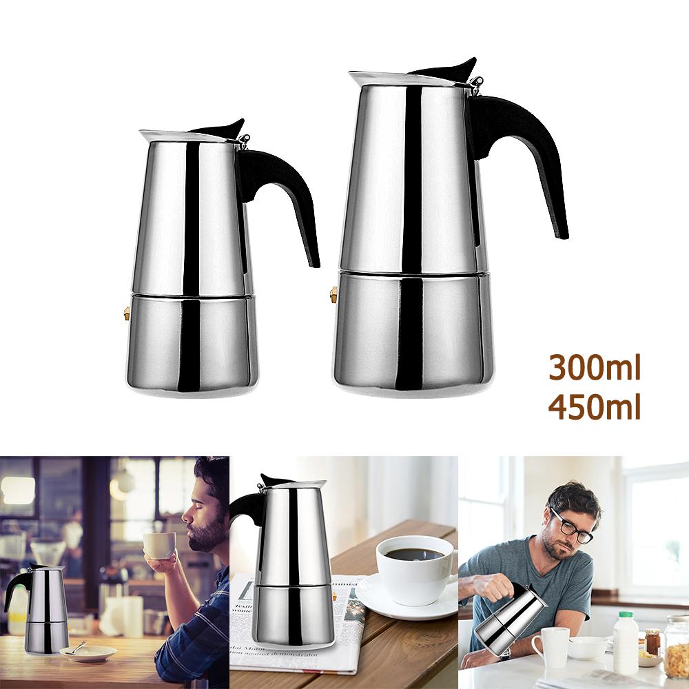 มอคค่าพอท รุ่นสแตนเลส เครื่องทำกาแฟสด กาต้มกาแฟสดแบบพกพาสแตนเลส หม้อต้มกาแฟแบบแรงดัน 300/450ml moka pot sutairu