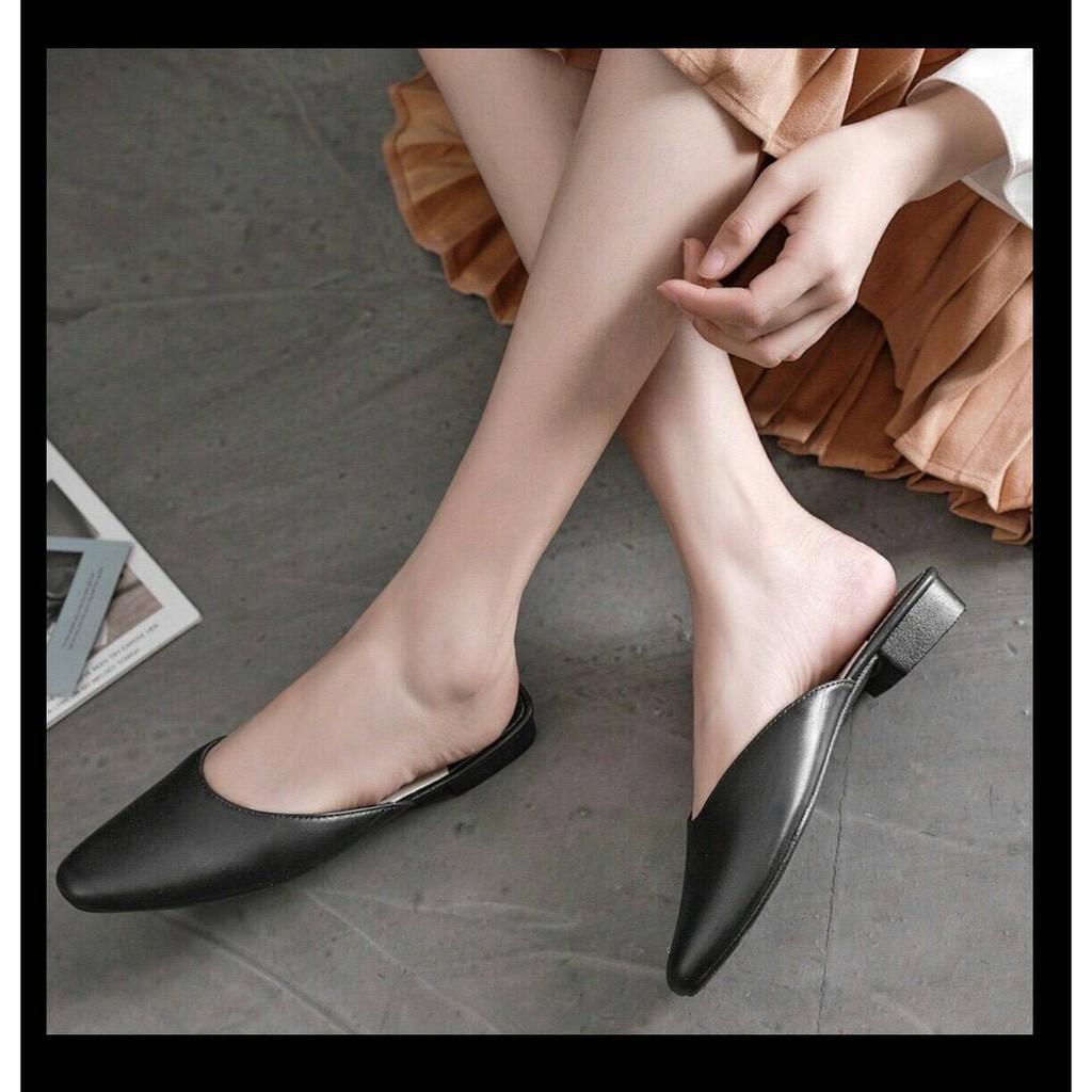 ส้นแบนหัวแหลม# รหัส007รองเท้าหนังเปิดส้น รองเท้าคัชชู รองเท้าหนัง รองเท้าแฟชั่น 2020 รองเท้าผู้หญิง รองเท้าคัชชูแฟชั่น