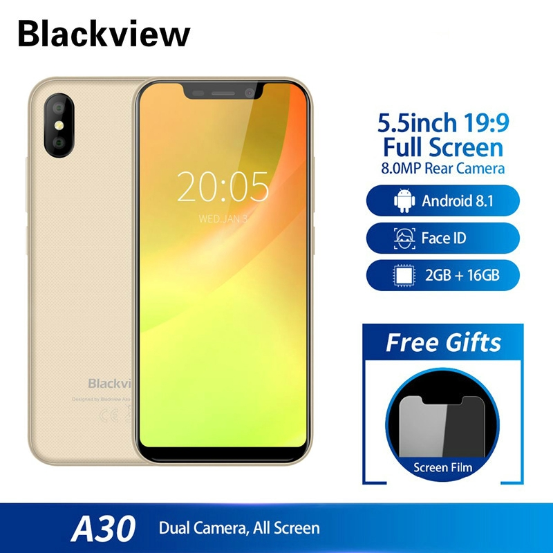 Blackview A30 2500mAh 2GB 2GB Quad-core Dual SIM 3G 3G 5.5 นิ้วสมาร์ทโฟน 19: 9 MTK6580A Android 8.1