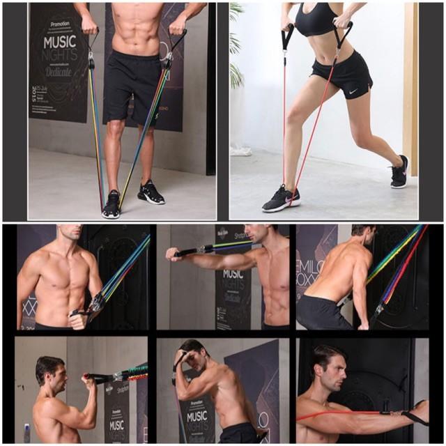ยางยืดออกกำลังกาย 11 ชิ้น ยางยืดหูจับ Resistance ผ้ายืดออกกำลังกาย ยางยืดแรงต้าน  ยางยืดออกกำลังกายแรงต้านสูง