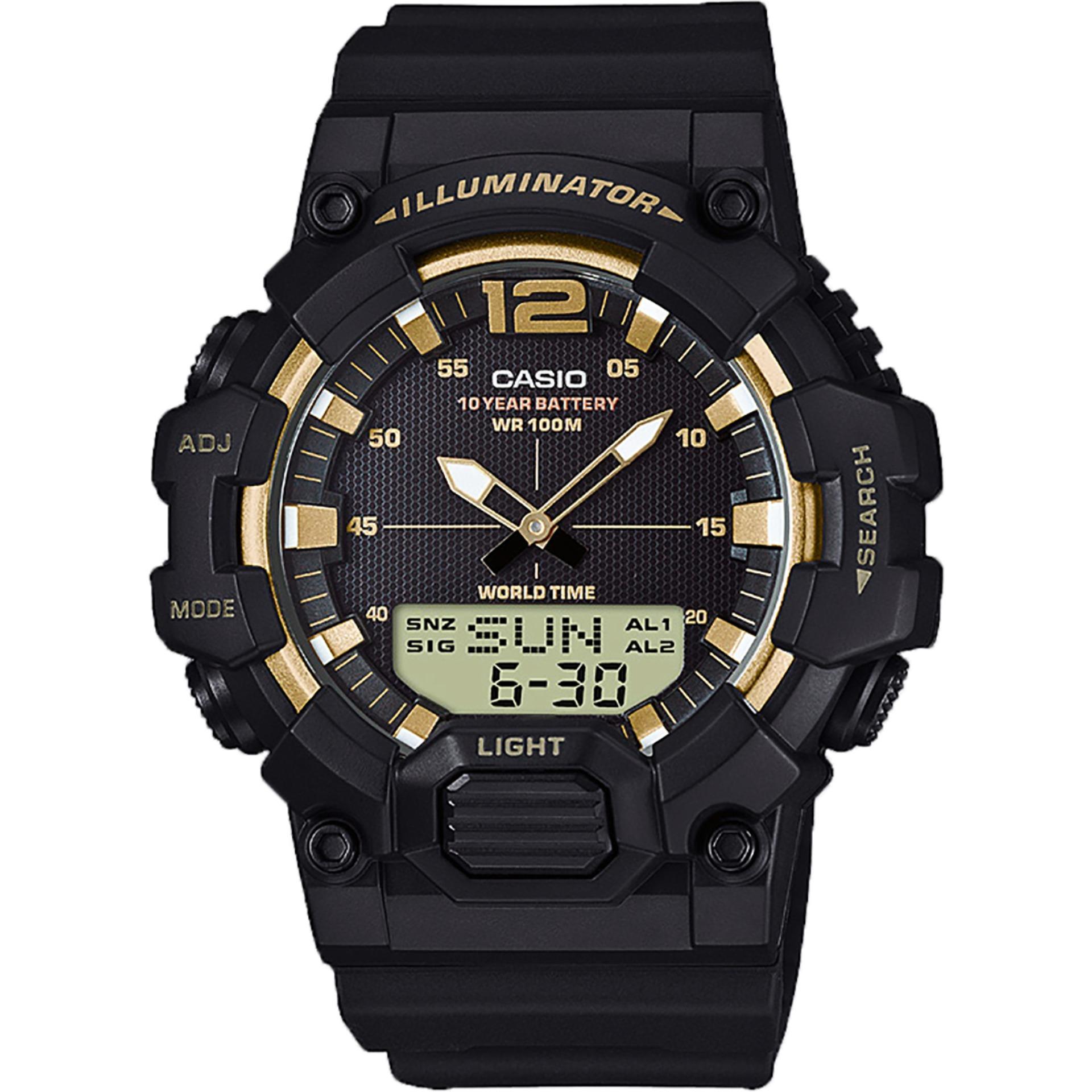 《ลดล้างสต๊อก》Casio แบตเตอรี่ 10 ปี สองระบบ เข็ม+ดิจิตอล นาฬิกาข้อมือ สายเรซิน รุ่น HDC-700