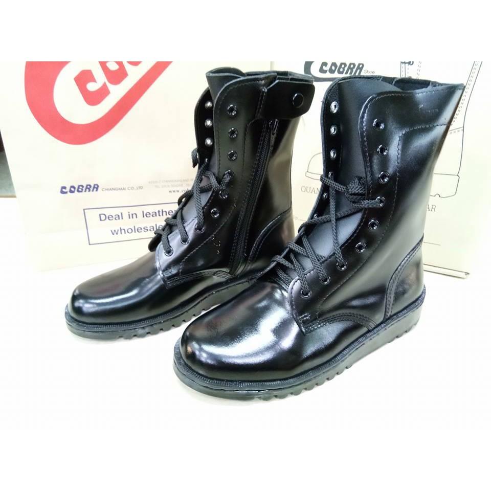COBRAรองเท้าคอมแบท ซิปข้างหนังแท้ พื้นยางวิบาก รหัส 006 F