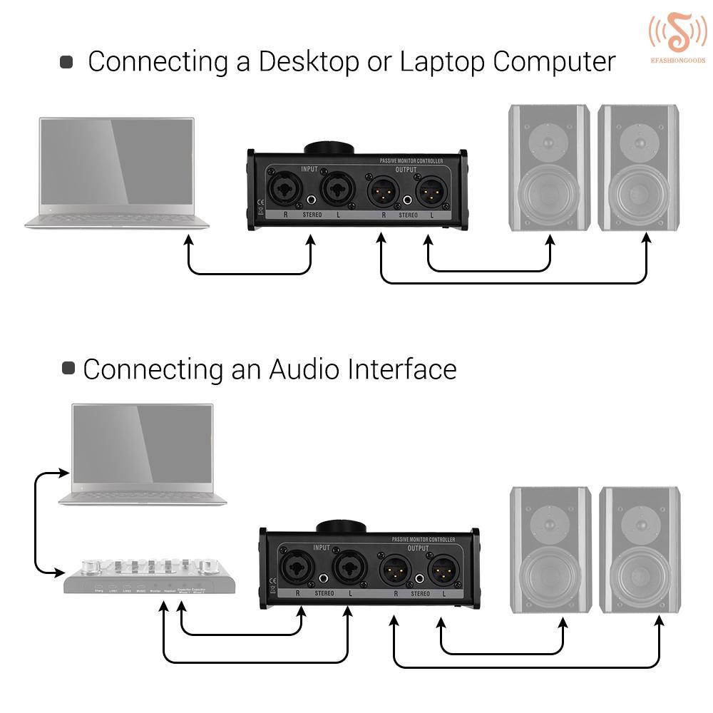 ตัวควบคุมมอนิเตอร์แบบพาสซีฟพร้อม Inputs Outputs XLR 3.5 มม.รองรับเสียง