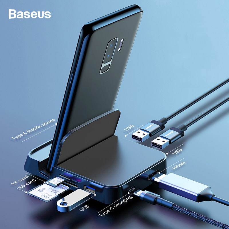 Genesis Connected Solutions 8 in 1 USB-C Hub Adapter 4K HDMI Expand USB C to 4K Ethernet Port Designed for MacBook Pro and Type C laptops Micro SD Card Dongle and Dock USB 3.0 SD Card