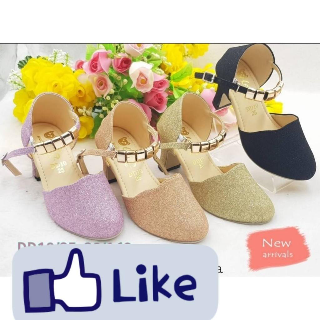รองเท้าคัชชูส้นสูงสำหรับเด็กผู้หญิง รองเท้าแฟชั่น น่ารัก ใส่สบาย ไชส์ 25-30