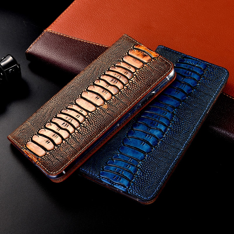 Genuine Leather Ostrich  Phone Case For Samsung Galaxy A3 A5 A6 A7 A8 A9 Pro Plus 2015 2016 2017 2018 Flip cover capa Ca