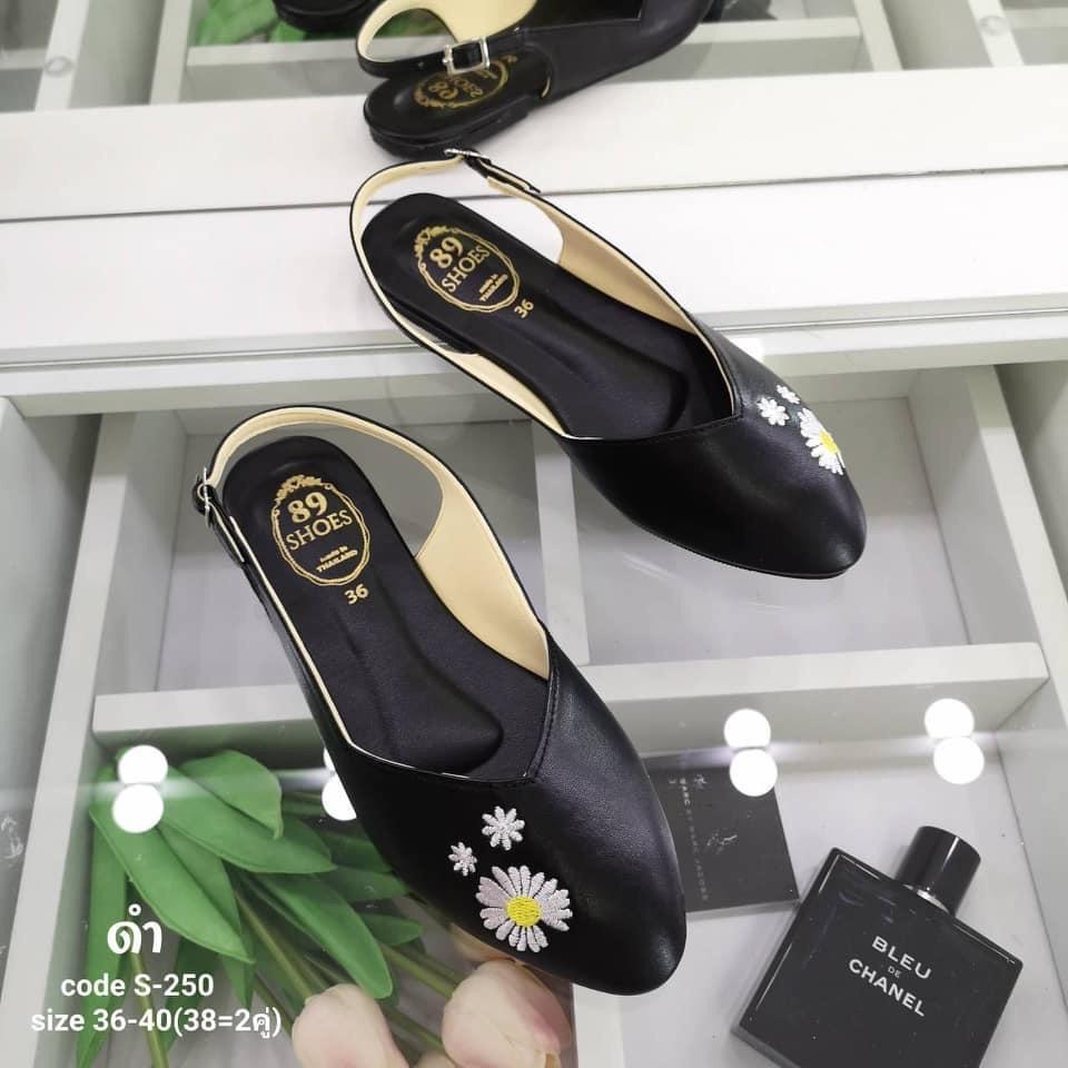 รองเท้าคัทชูสีดำ รองเท้าคัชชูแฟชั่นผู้หญิง รองเท้าสีดำปักดอกเดซี่