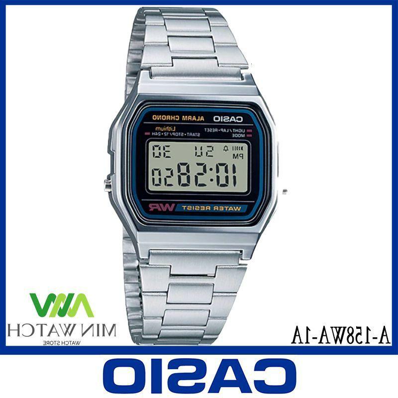 《ลดล้างสต๊อก》นาฬิกา รุ่น Casio DIGITAL นาฬิกาข้อมือ นาฬิกาผู้หญิง สายสแตนเลส รุ่น A-158WA-1 ของแท้100% ประกันศูนย์CASIO
