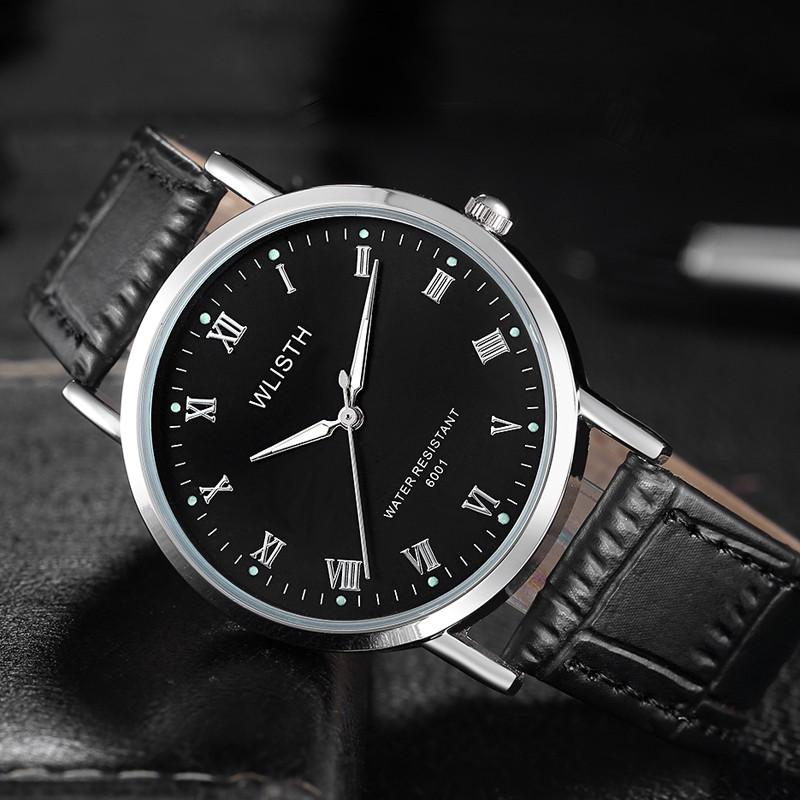 WLISTH นาฬิกาผู้ชายแฟชั่น นาฬิกา สายนาฬิกาหนังแท้ โต๊ะสแตนเลส นาฬิกาควอตซ์ คุณภาพดี (Casio movement ของญี่ปุ่น)
