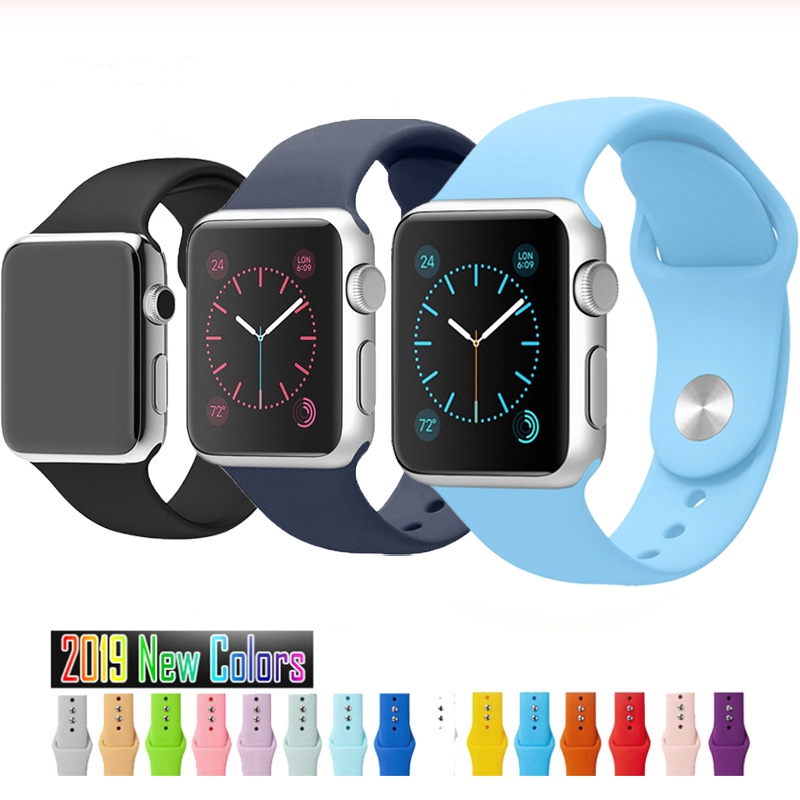 Soft Silicone Strap Apple Watch Band Series 5 4 3 2 1 38mm 40mm 42mm 44mm Rubber Watchband Sports iWatch Bracelet