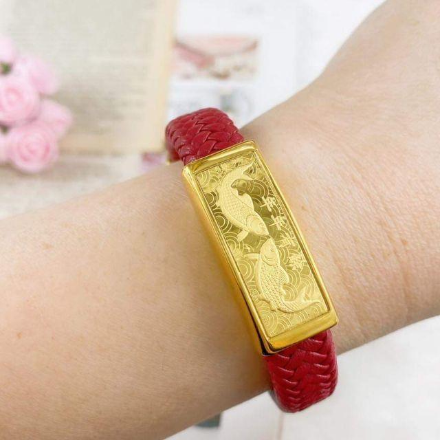 สร้อยข้อมือทองคำแท้ 99.99% ปลาหลีฮื้อ น้ำหนัก ทอง 0.2 กรัม