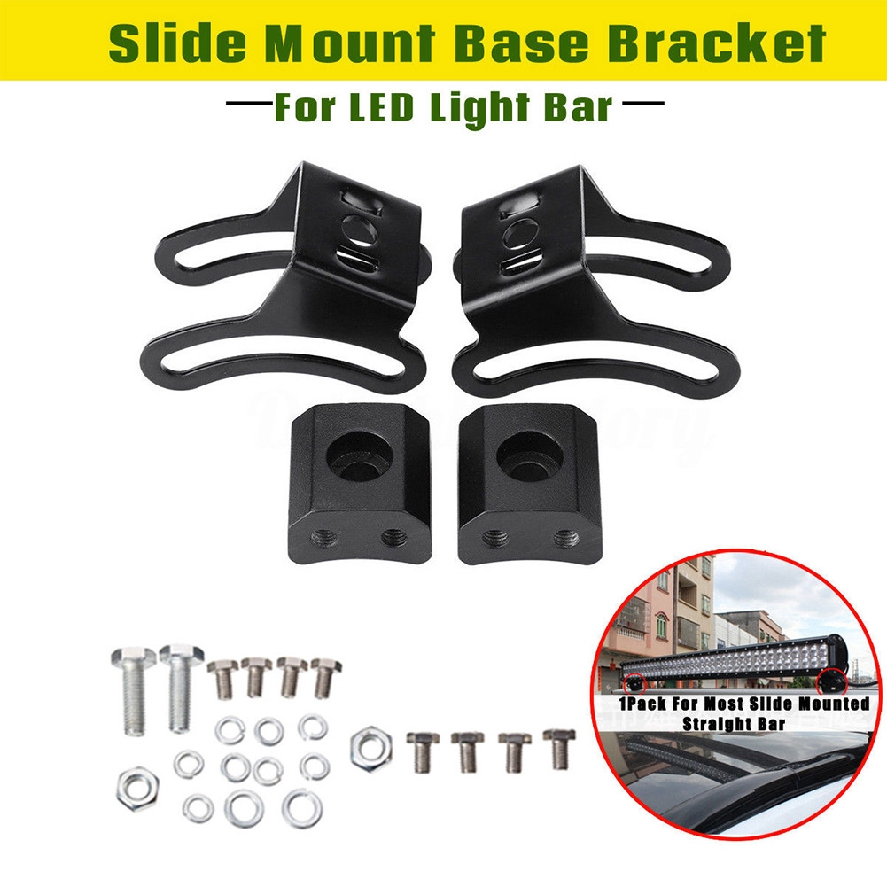 2Pack LED Light Bar Slide Mount Base Bracket For Most Slide Mounted Straight Bar