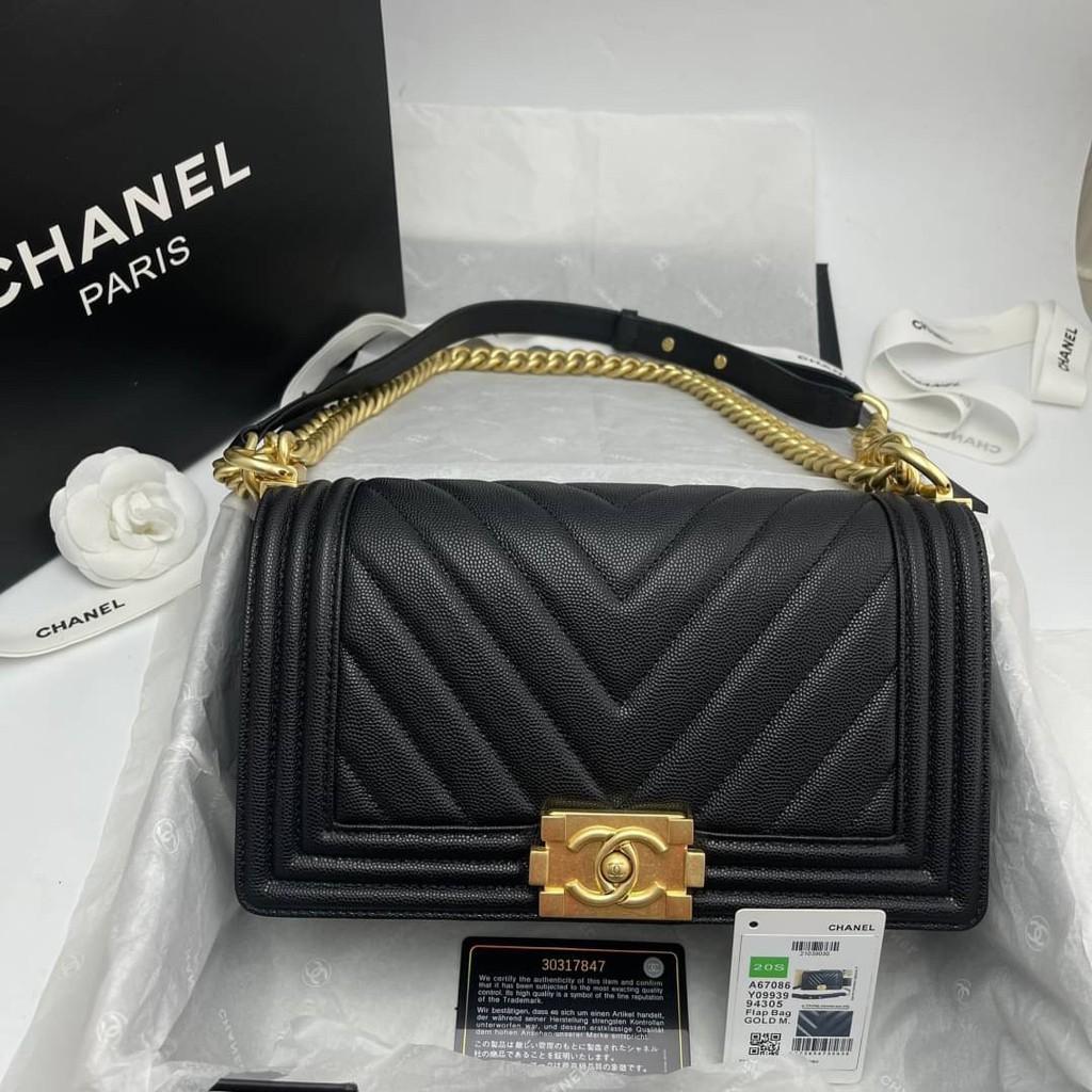 Chanel boy chevron สีดำ อะไหล่ทอง Grade vip Size 25cm  อปก. fullboxset