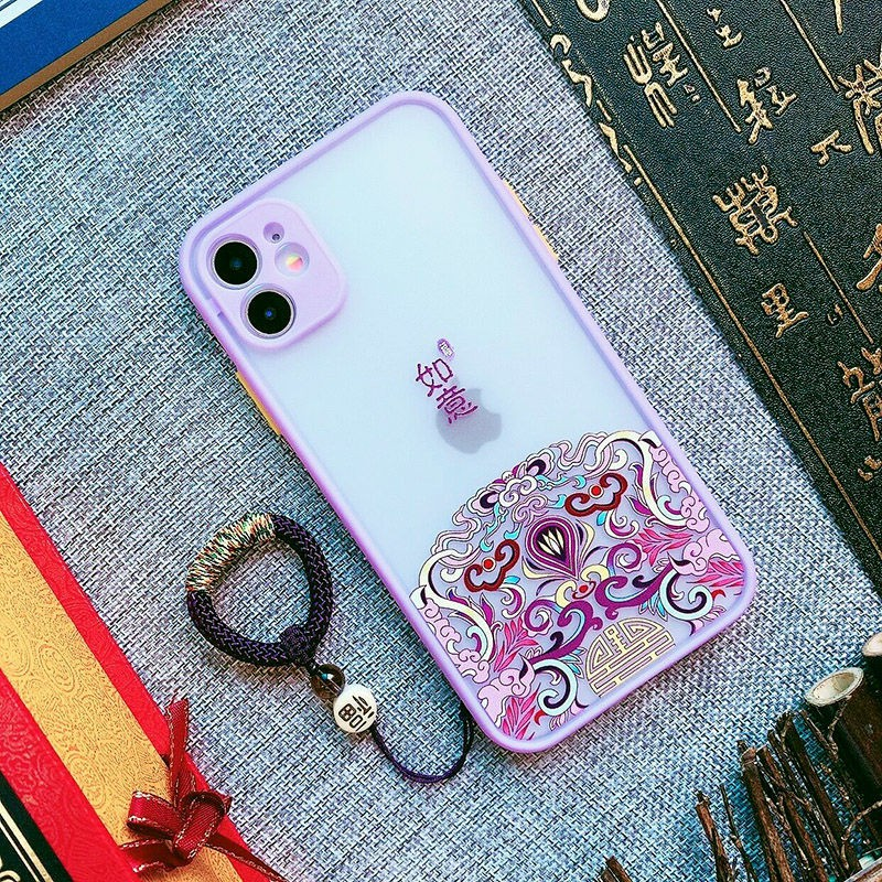 เคสโทรศัพท์มือถือ iphoneเคสโทรศัพท์แฟชั่น Appleↂ┅●เคสโทรศัพท์มือถือ Apple iPhone11 ลมจีนฝ้า 11promax ฝาครอบป้องกันซิล