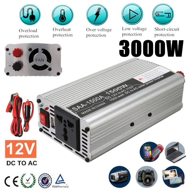 Power Inverter DC 12V to AC 110V Sine Wave Converter USB 1000W//3000W//4000W Peak